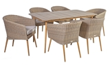 Show details for Home4you Norway Table And 6 Chairs Set Beige