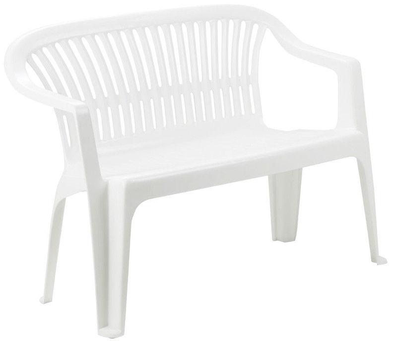 Progarden Stackable Plastic Garden Bench Diva White