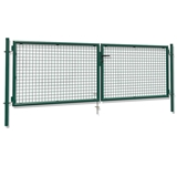 Show details for Double leaf gate, 115 x 400 cm, green
