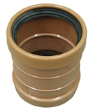 Show details for Double coupling PVC outdoor.can. 110 brown (Wavin)