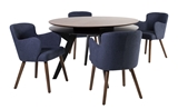 Show details for Dining set Home4you Eleanor Dark Blue / Walnut