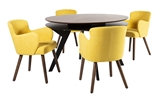 Show details for Dining set Home4you Eleanor Yellow / Walnut