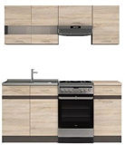 Show details for Kitchen set Black Red White Junona Sonoma Oak / Wenge, 1.7 m