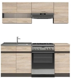 Show details for Kitchen set Black Red White Junona Sonoma Oak / Wenge, 1.8 m