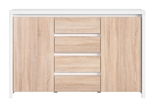Show details for Black Red White Chest Kaspian KOM2D4S White/Sonoma Oak