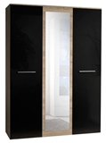Show details for ASM Big Wardrobe w/ Mirror Sonoma Oak/Black