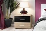 Show details for Bedside table ASM Vicky Sonoma Oak / Black Gloss