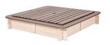Show details for Folkland Timber 4 Corner Sandbox w/ Removable Lid 120x120x20cm White/Graphite