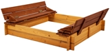 Show details for Folkland Timber Sandbox Four Corner Foldable Lid Brown/Yellow