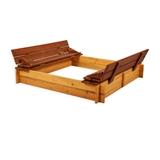 Show details for Folkland Timber Sandbox Four Corner With Foldable Lid Natural
