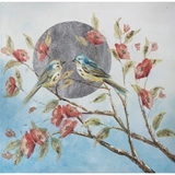 Show details for Home4you Oil Painting 60x90cm Birds On The Branch Blue